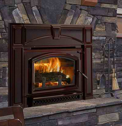 The Fireplace Showcase Quadra-fire wood fireplace insert