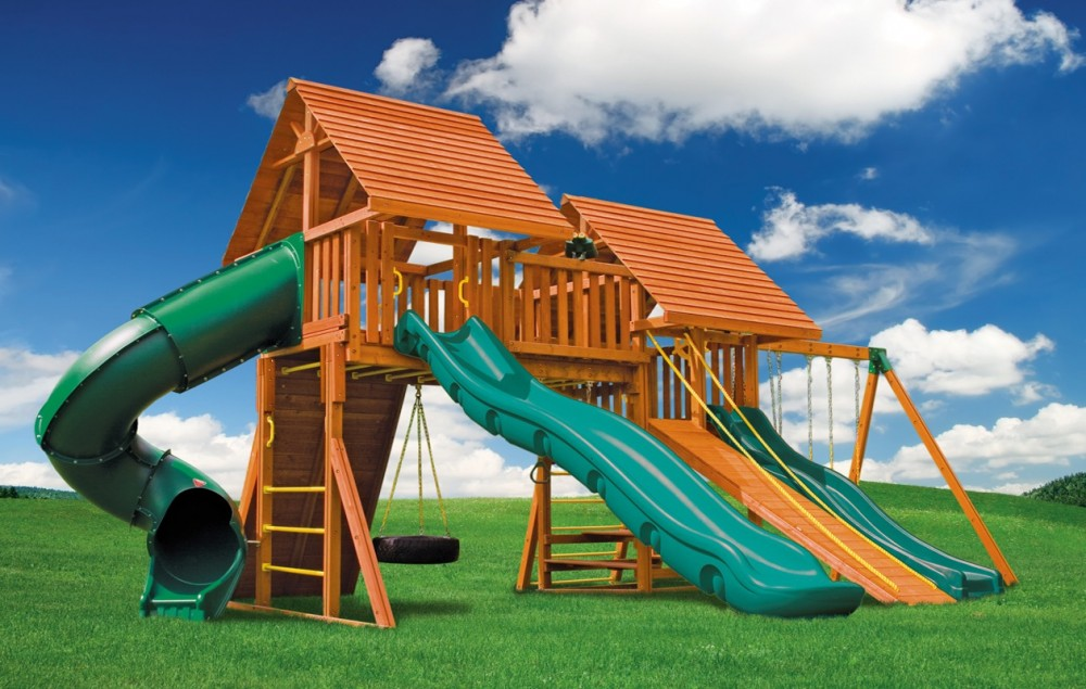 Fantasy jungle gyms ma ri eastern jungle gym swing sets for Wooden swing set with bridge