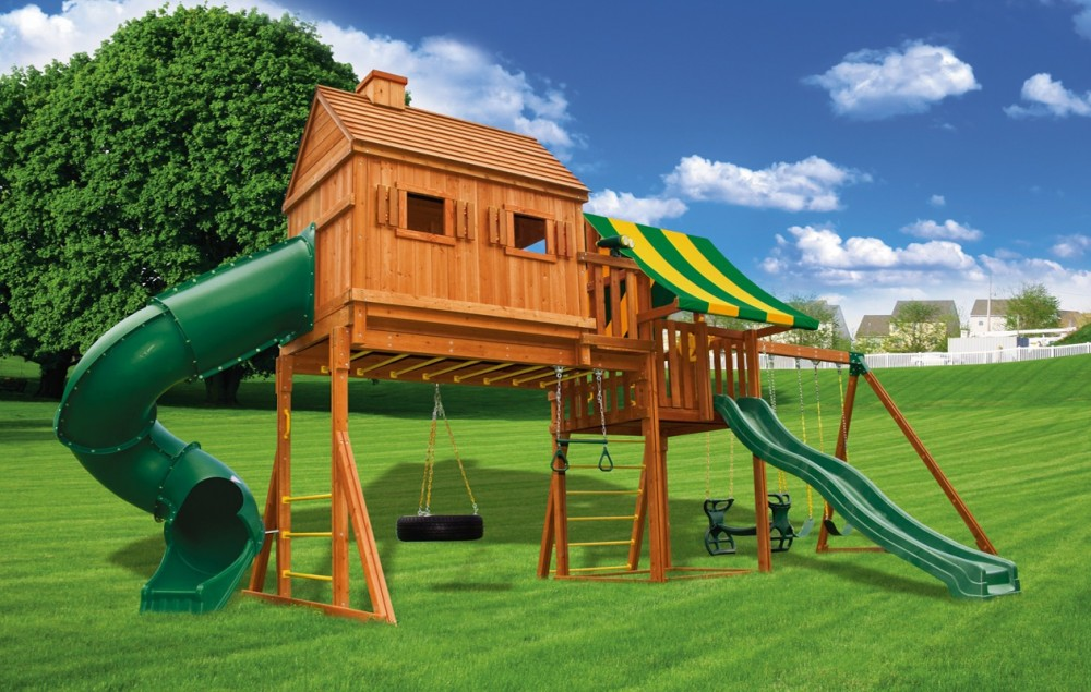 Fantasy tree house jungle gyms ma ri eastern jungle gym for Childrens playhouse with slide and swing
