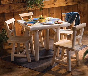 Five Piece 35 in. Square Solid Top Dining Table Set